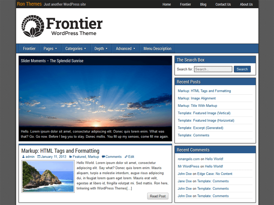 Frontier free wordpress theme