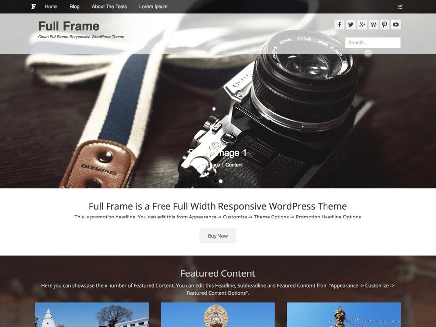 Full Frame free wordpress theme