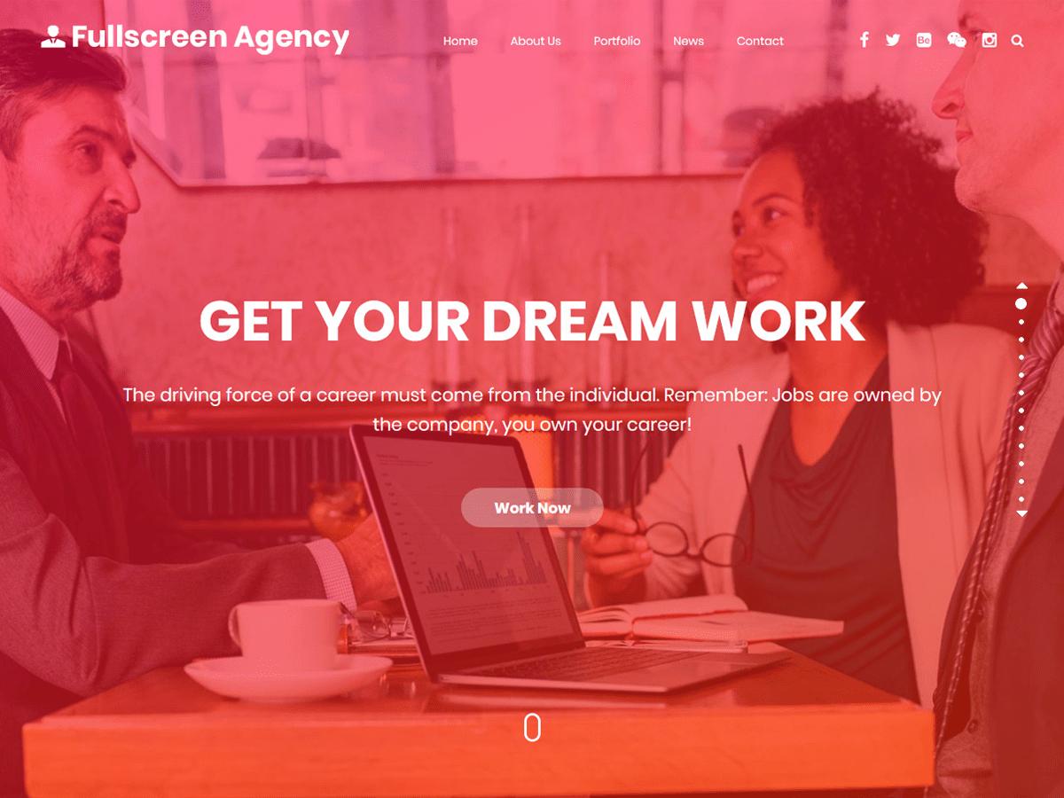 WordPress主题:Fullscreen Agency