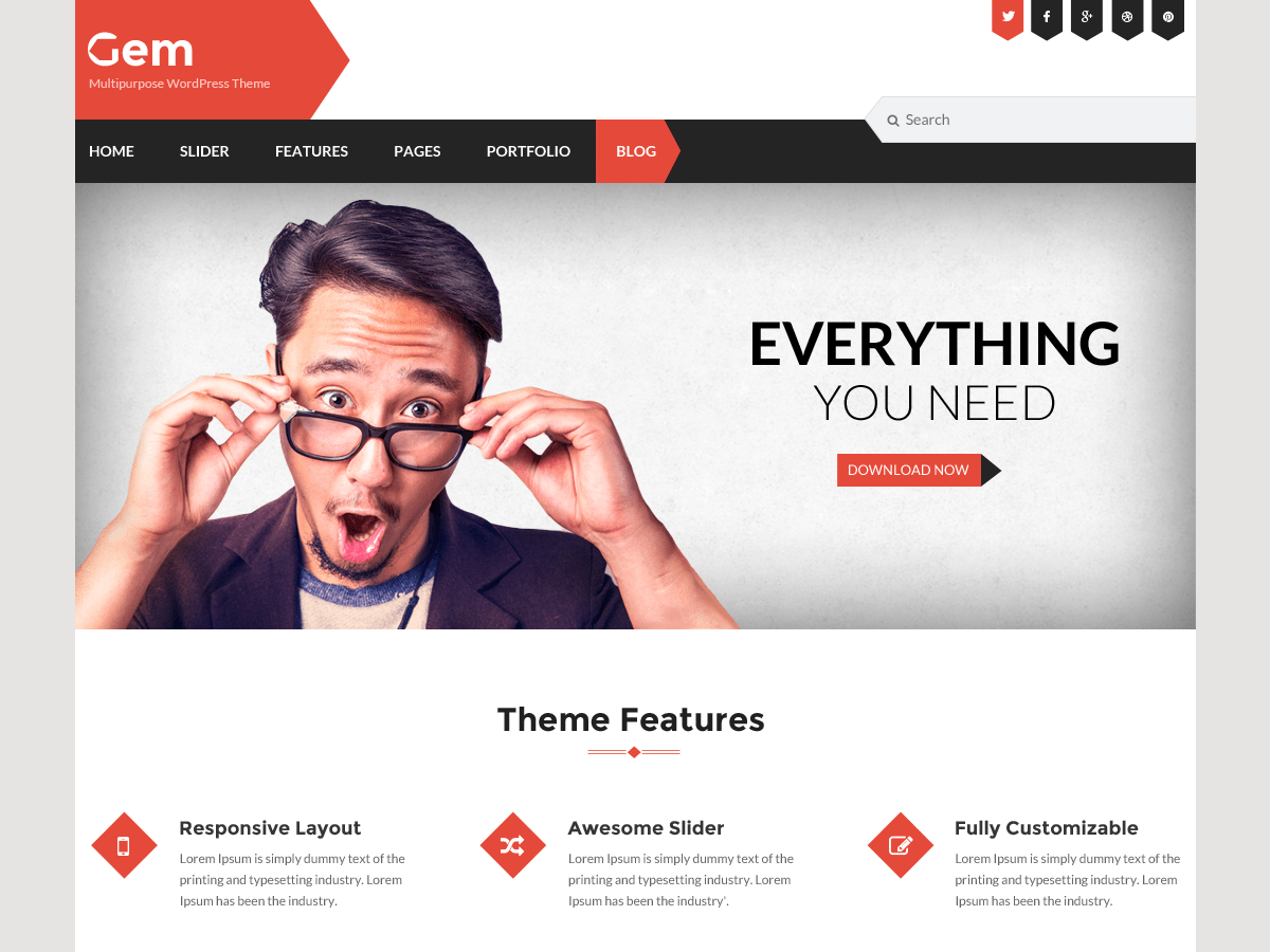Gem free wordpress theme