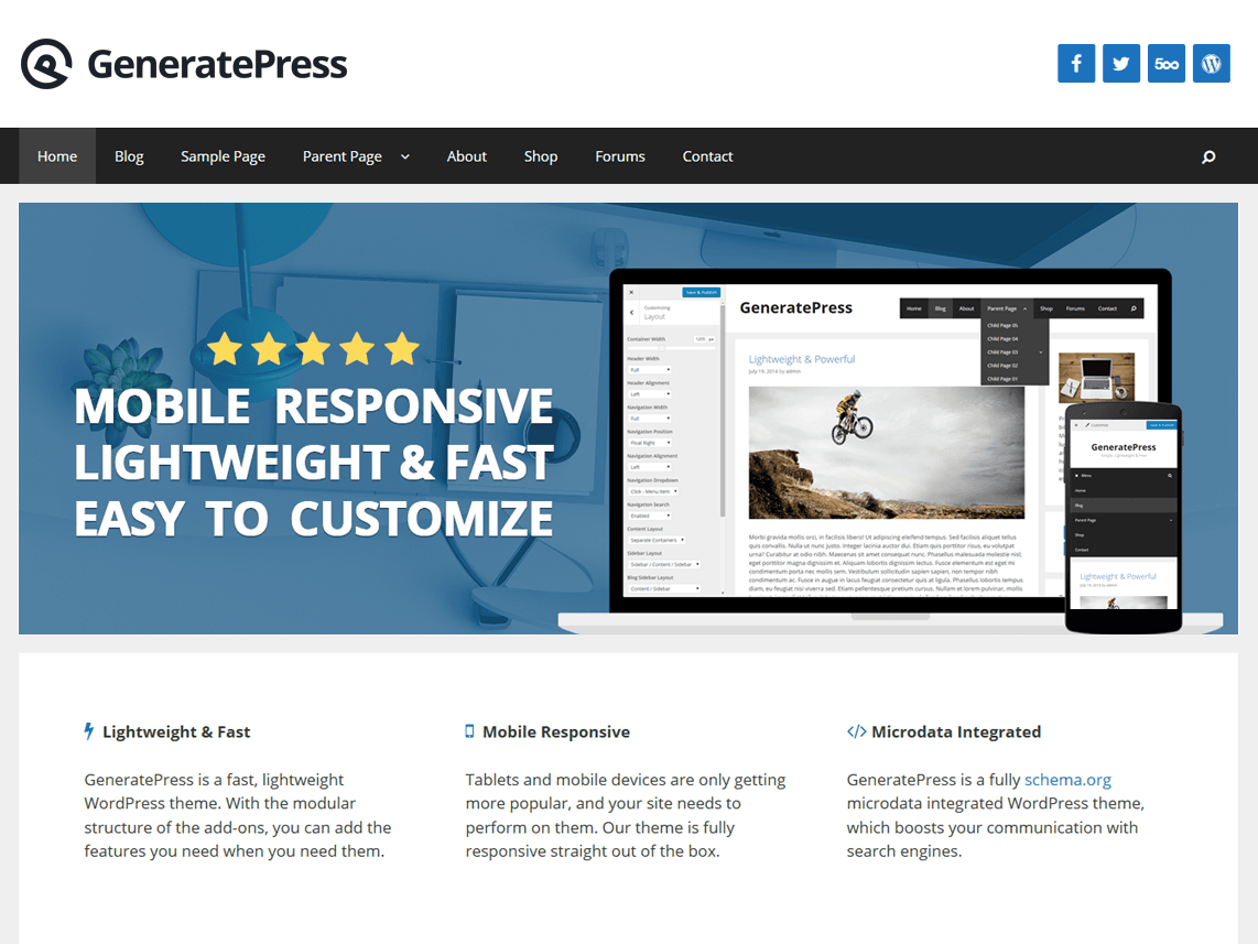 WordPress тема: GeneratePress