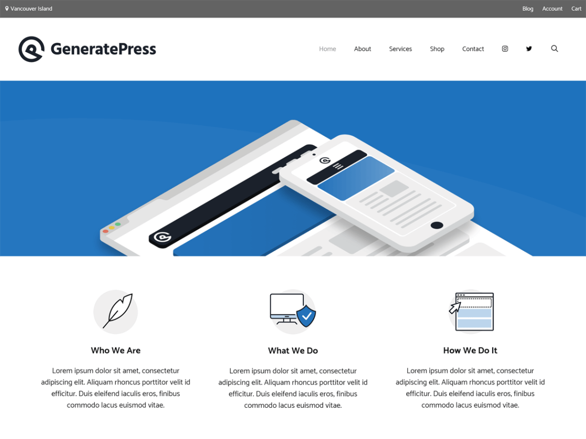 Screenshot of the homepage for the GeneratePress theme