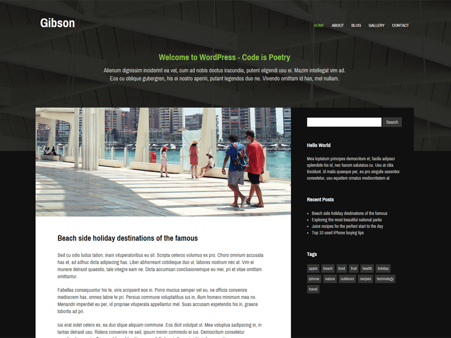 Gibson wordpress theme
