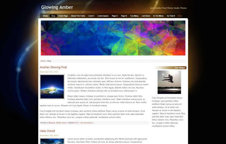 Glowing Amber free wordpress theme