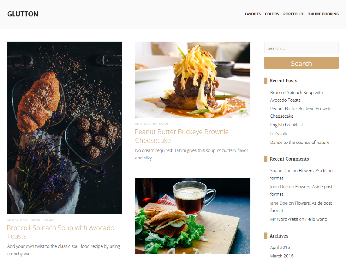 Glutton wordpress glutton is a clean and modern wordpress theme for cafe restaurant recipe blog and any food related web site built with the latest wordpress technology forumfinder Images