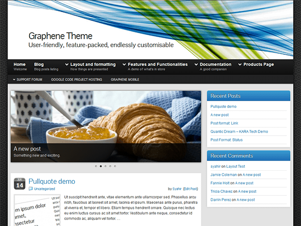 Graphene free wordpress theme