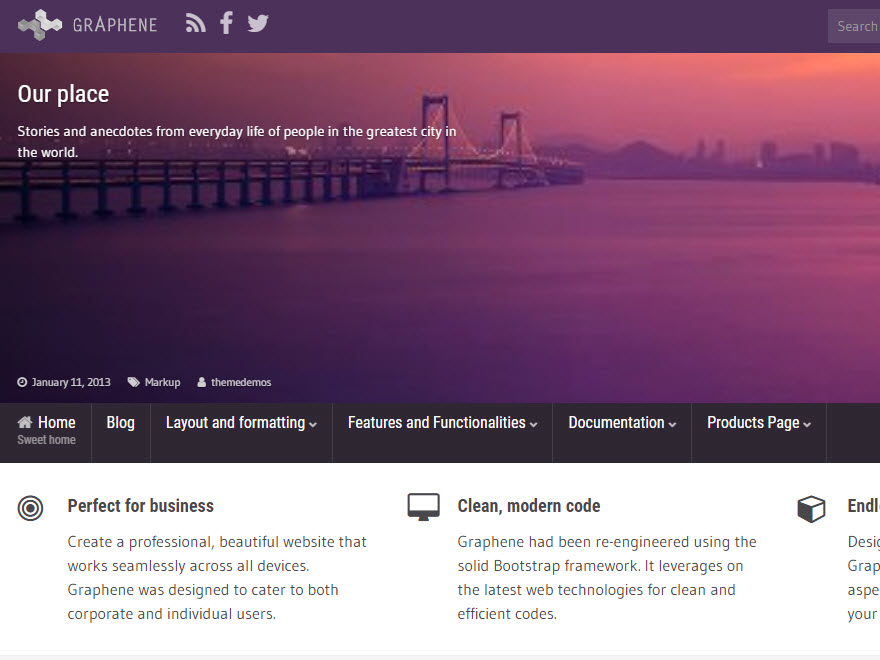 Graphene free wordpress themes we believe that every theme should facilitate creative writing not hinder it we also believe that each site should have the opportunity to be unique altavistaventures