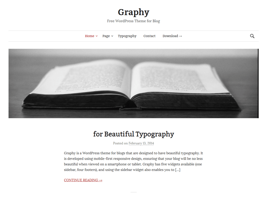 Graphy free wordpress theme