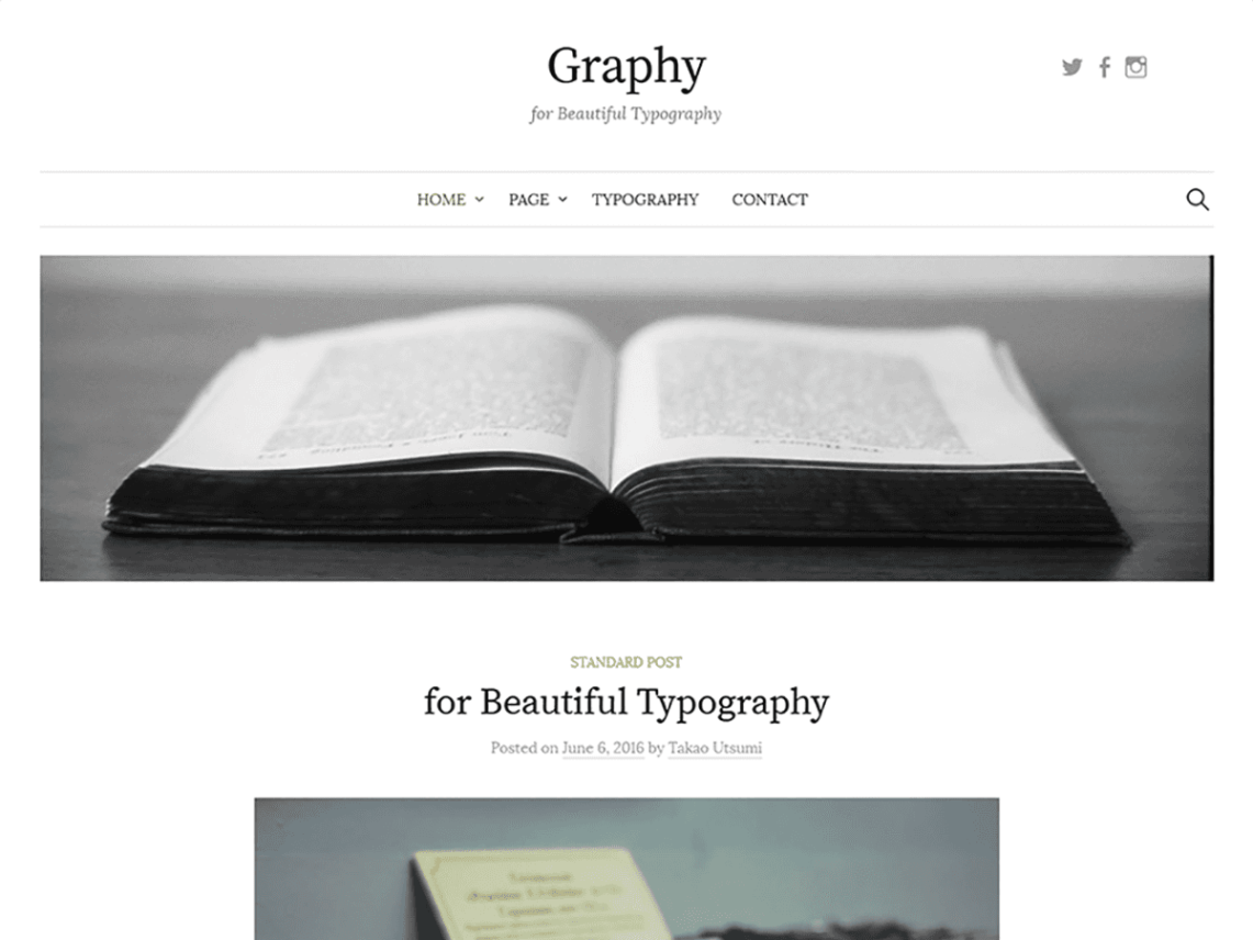 Graphy is a blog-oriented WordPress theme designed with great attention given to the beauty of the typography. Made using mobile-first responsive web design ...
