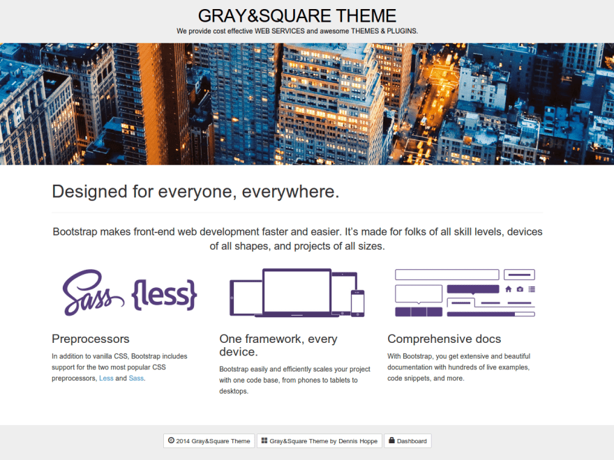 Gray and Square free wordpress theme