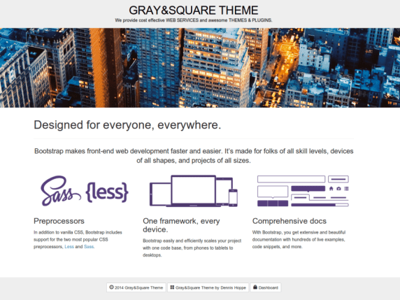 Gray and Square wordpress theme