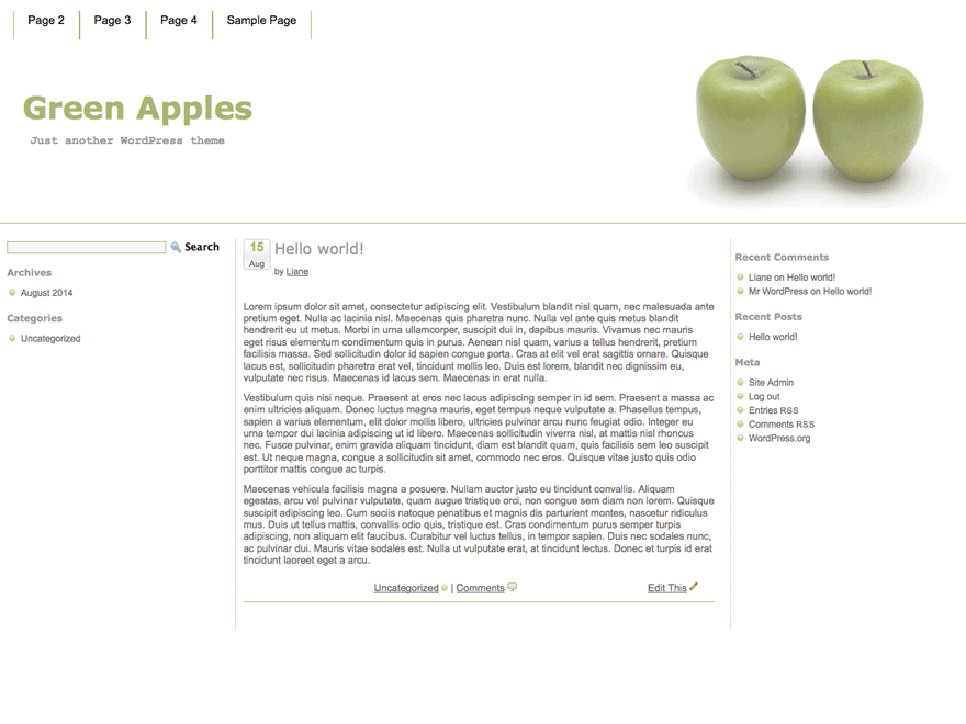 Green Apples free wordpress theme