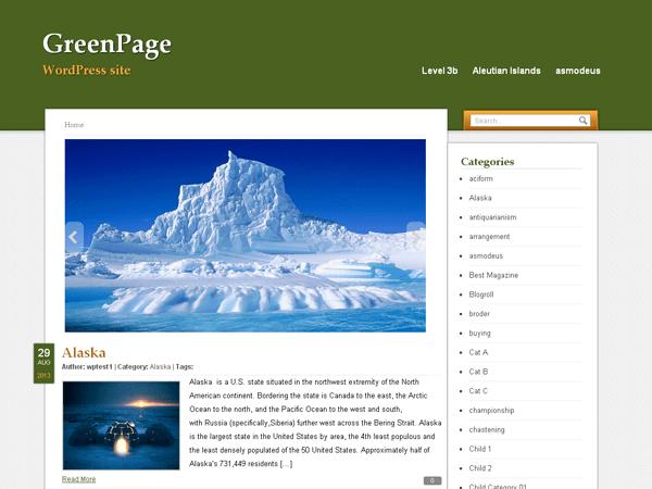 GreenPage free wordpress theme