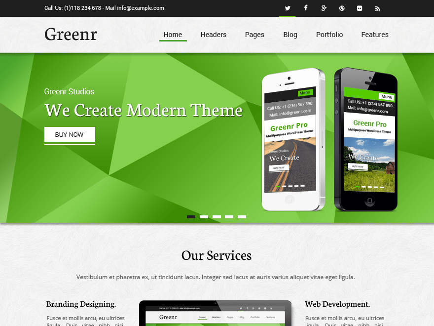 Greenr free wordpress theme