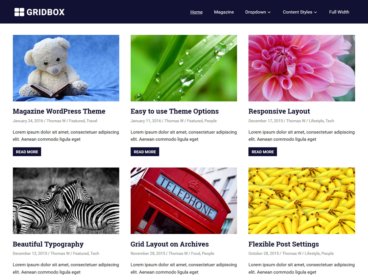 WordPress тема: Gridbox