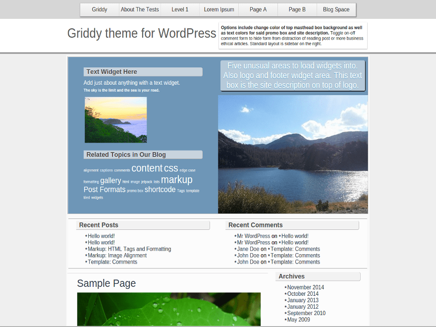 Griddy free wordpress theme