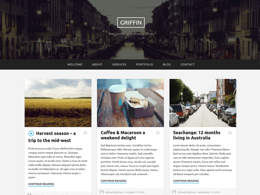 Griffin free wordpress theme