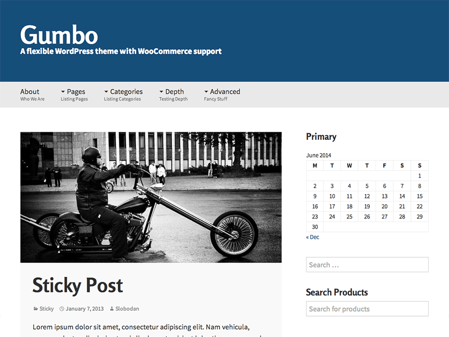 Gumbo free wordpress theme