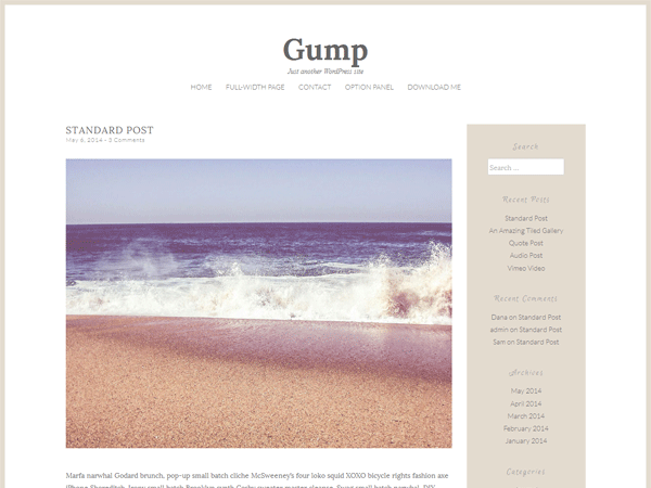 Gump free wordpress theme