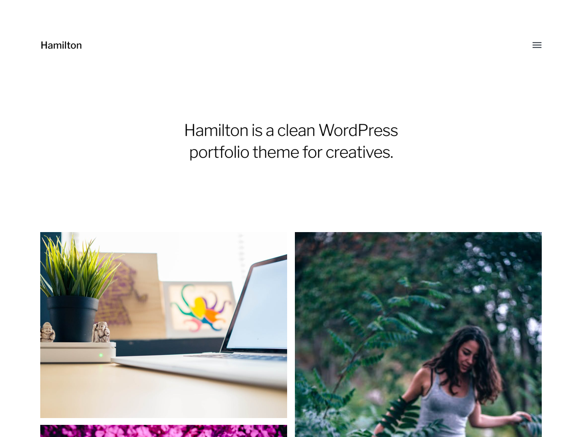 Voschau des WordPress Themes Hamilton von Anders Noren