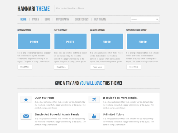 Hannari Blue wordpress theme