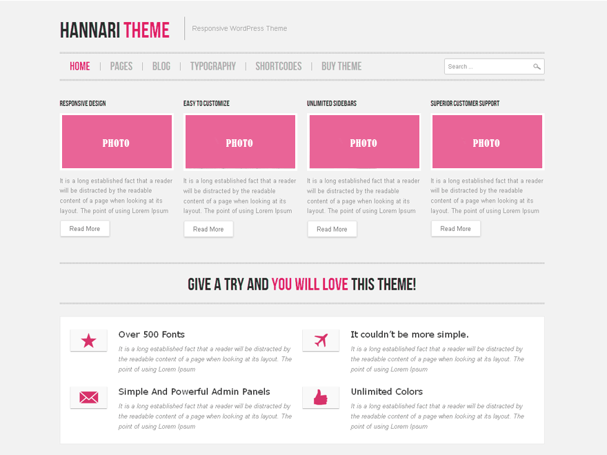 Hannari Pink free wordpress theme