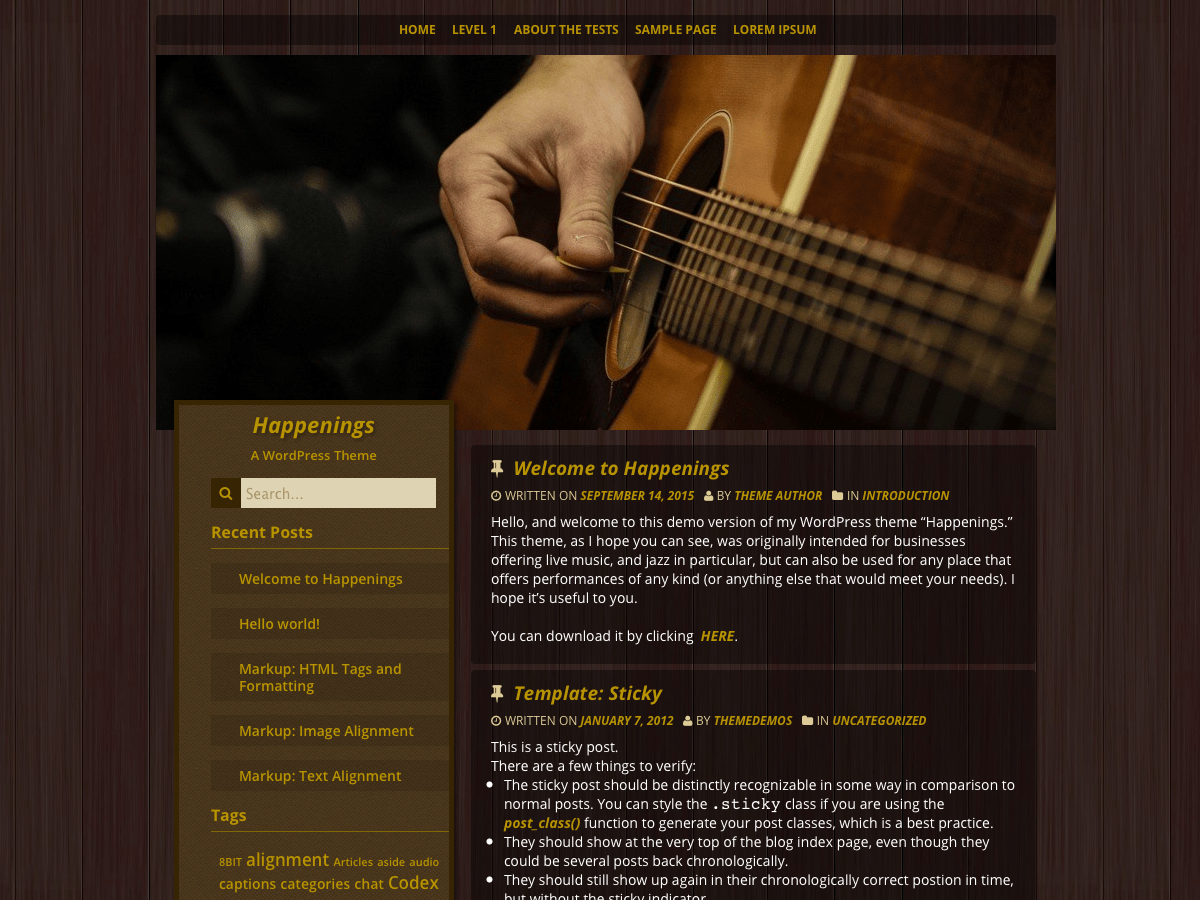 Happenings free wordpress theme