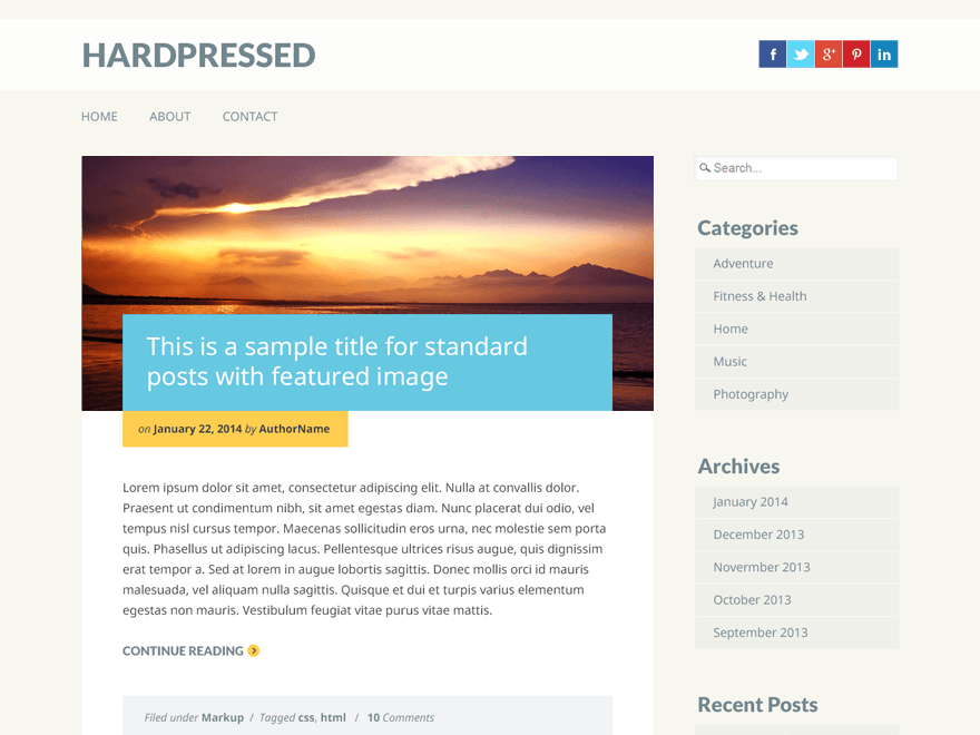 Hardpressed free wordpress theme