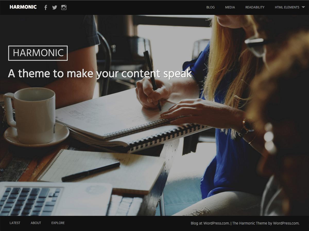 Las 5 mejores plantillas gratuitas para WordPress: Harmonic