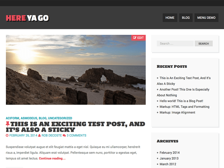 Here Ya Go free wordpress theme