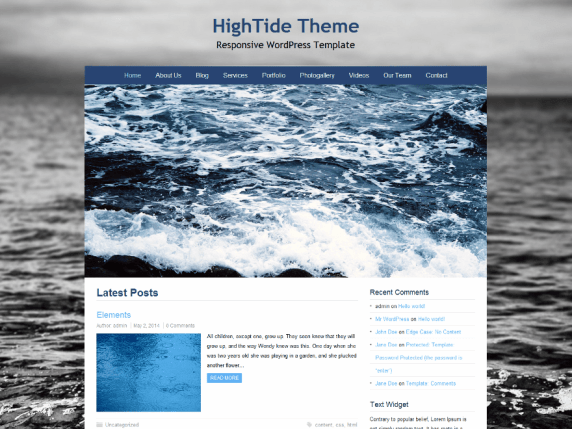 HighTide wordpress theme