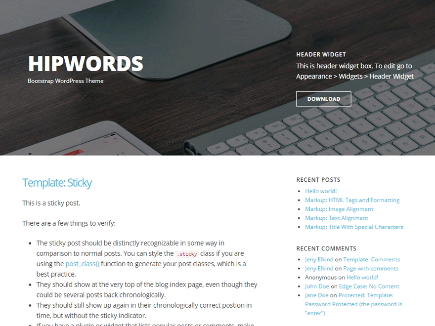HipWords free wordpress theme