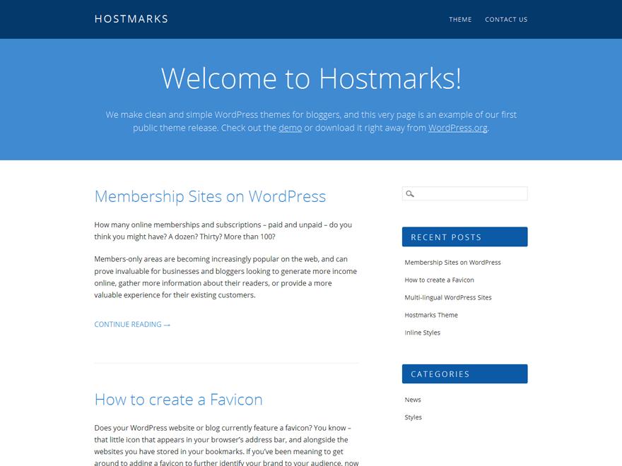 Hostmarks free wordpress theme