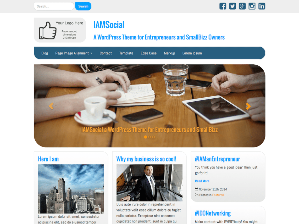 free WordPress theme small businesses and entrepreneurs