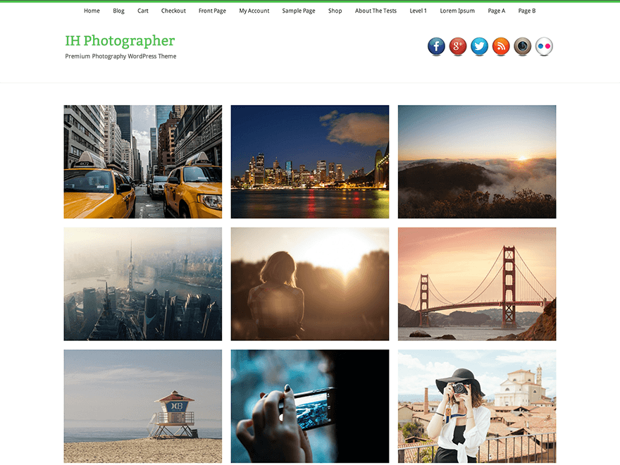 IH Photographer free wordpress theme
