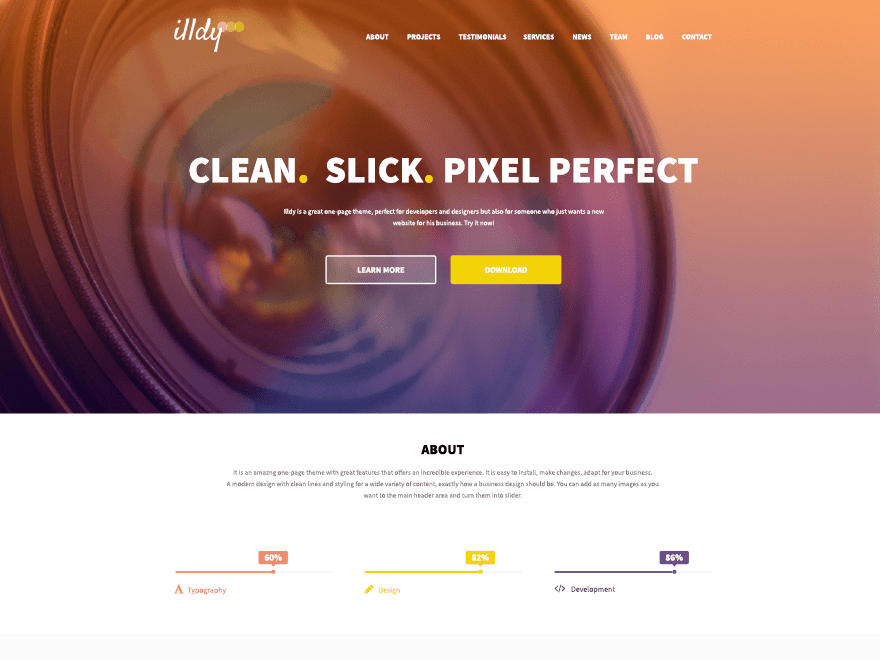 demo of illdy WordPress theme