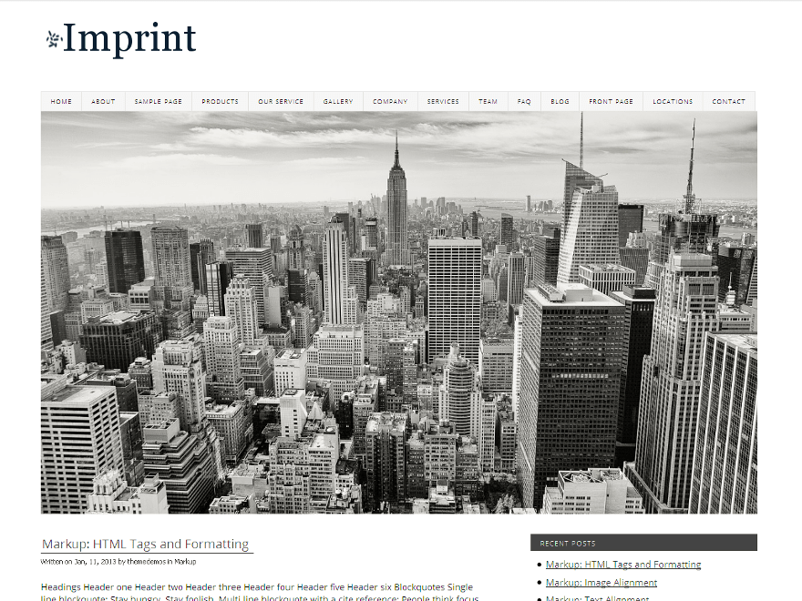 Imprint free wordpress theme