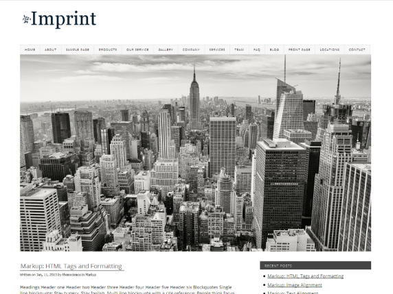 Imprint wordpress theme