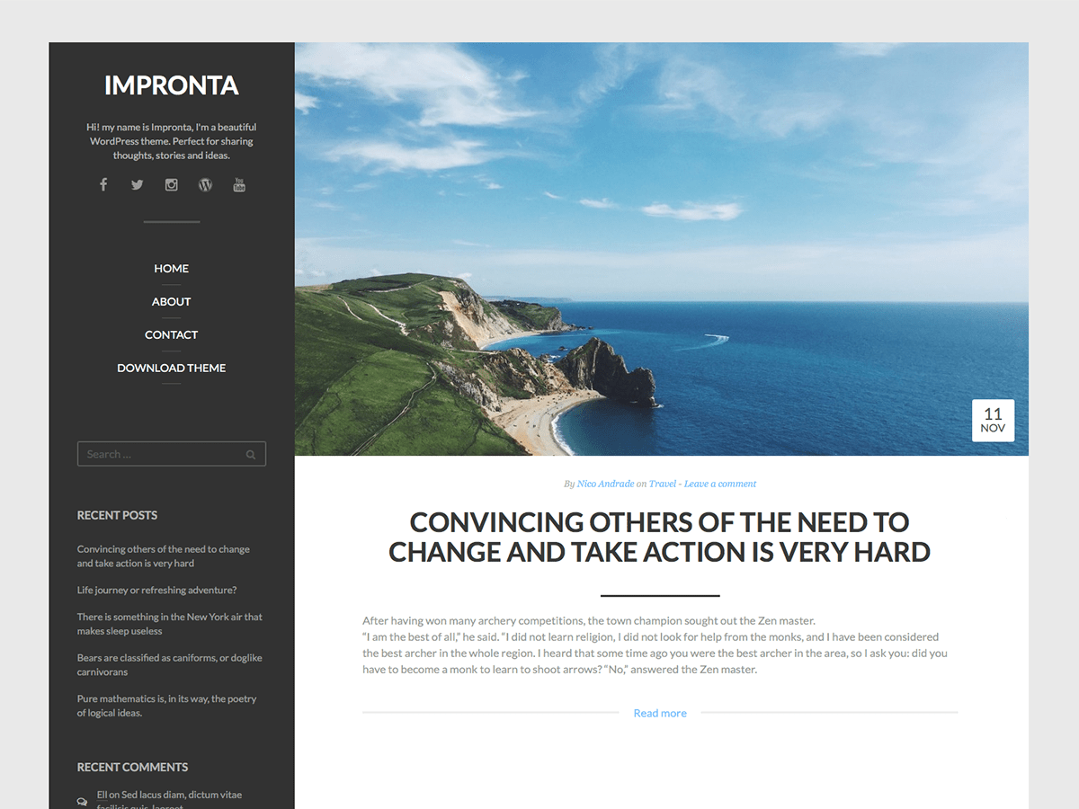 Impronta free wordpress theme