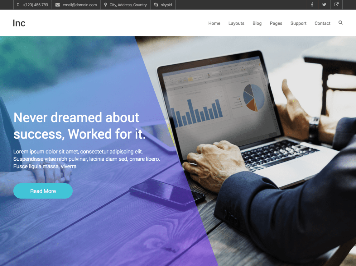 Inc wordpress inc is a responsive multi purpose business wordpress theme inc is specially designed for web agency business corporate business personal and freelancer accmission Images
