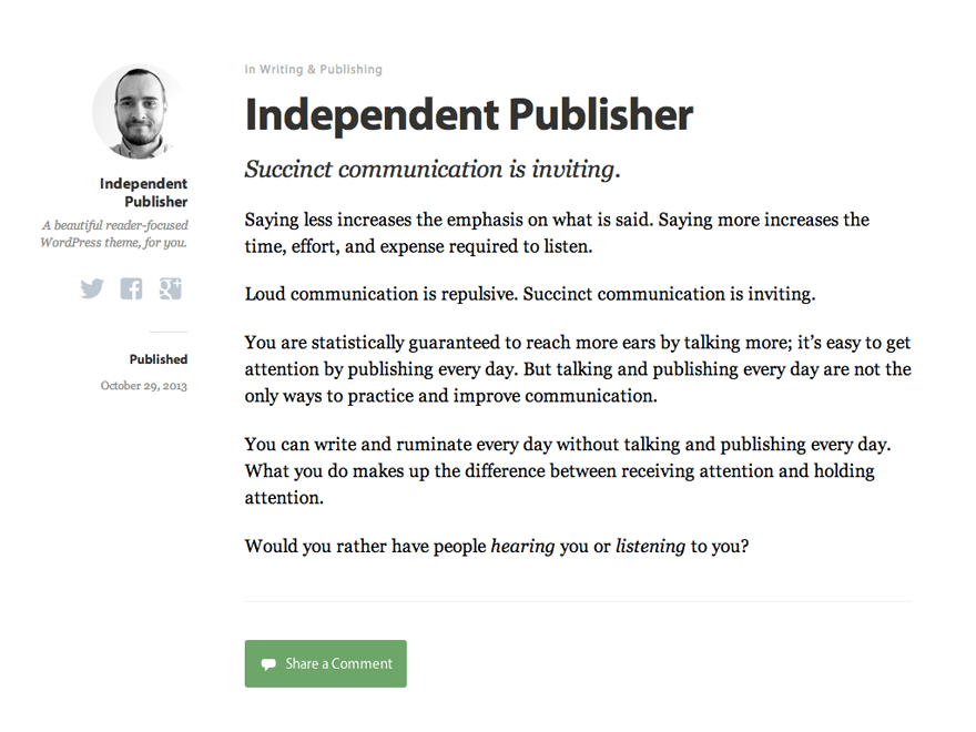 Independent Publisher free wordpress theme