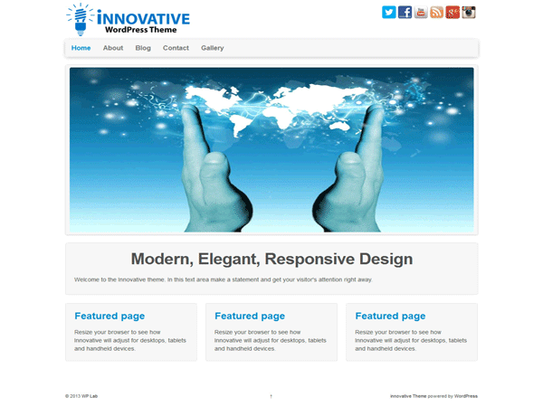 Innovative free wordpress theme