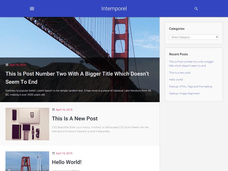 Intemporel free wordpress theme