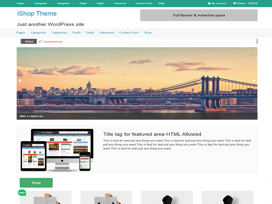 screenshot of iShop free WooCommerce theme