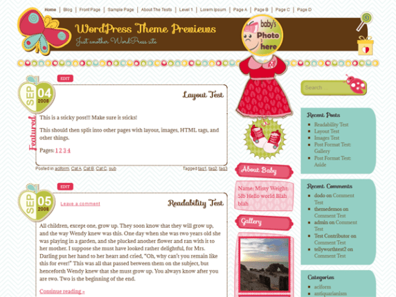 It's a Girl wordpress theme
