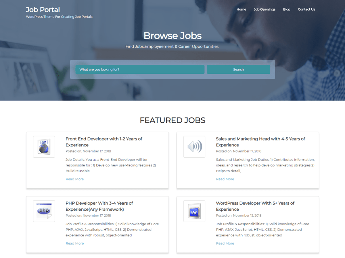 WordPress主题:Job Portal