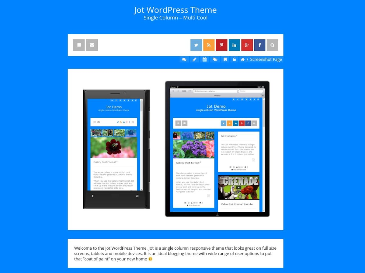 Jot free wordpress theme