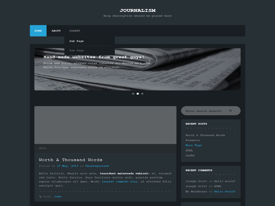 Journalism free wordpress theme