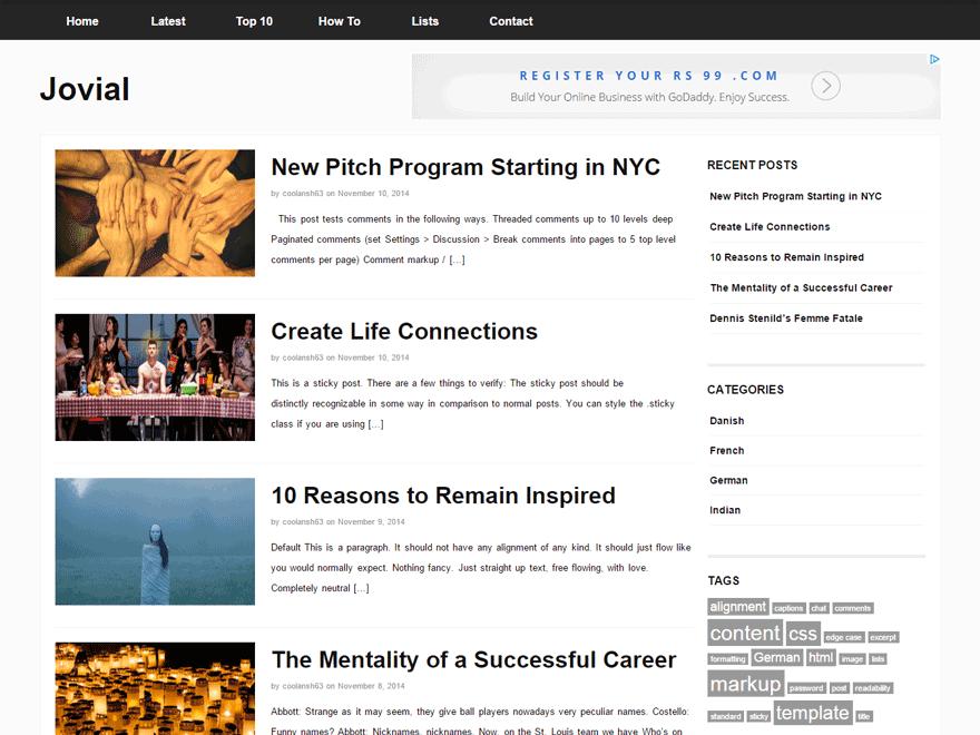 Jovial theme wordpress gratuit