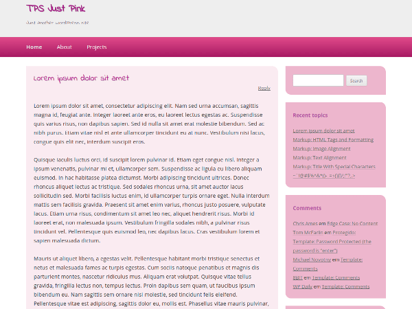 Just Pink free wordpress theme